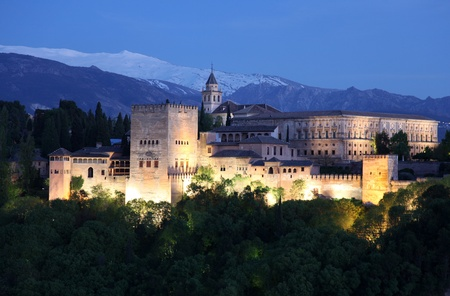 View of Alhambra at twilight, Granada, Spain.