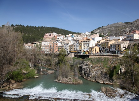 cuenca: View across Rio Jucar of Cuenca Spain. This tourist destination is a world heritage site. Stock Photo