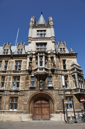 cambridgeshire: Typical historical stone building in the University City of Cambridge England. Bicycle transport is popular in the town due to limited parking and large student population