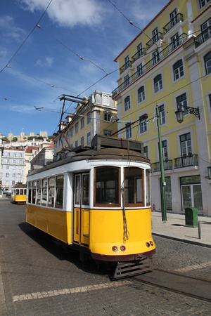tramline: Vintage Trams such as these two are a common site in the Portuguese Capital of Lisbon - Portugal