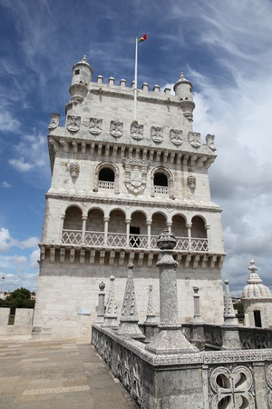 Torre de Belem is a fortified tower in Lisbon Portugal. The tower was build in the earth 16th century and formed part of the defence system at the entrance of the River Tagus. Stock Photo - 10719688