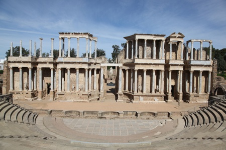 The Roman Theatre (Teatro Romano) at Merida in Extremadura, Spain. Merida is home to some of Spains finest Roman ruins. Stock Photo