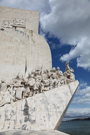 This huge limestone monument in Lisbons Belem district was created to celebrate Portugals great historical heros such as Henry the Navigator - Vasco da Gama and Fernao de Magalhaes.