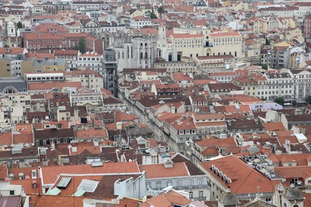 An elevated view of the Baixa district in Lisbon - Portugals capital city. photo