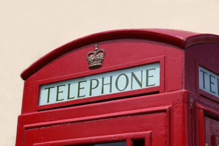 british culture: Closeup detail of iconic British Telephone Box located in Gibralta - A British Oversea Territory that displays its British Culture in many ways. Stock Photo