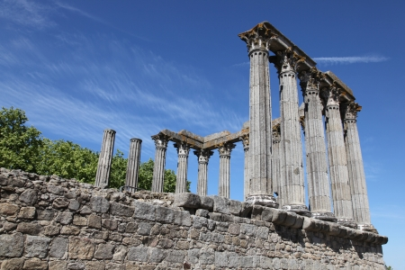 The ancient remains of the Roman Temple of Evora (referred to as the Temple of Diana.)  This Corinthian style temple has become the iconic landmark in the Portuguese City of Evora. photo