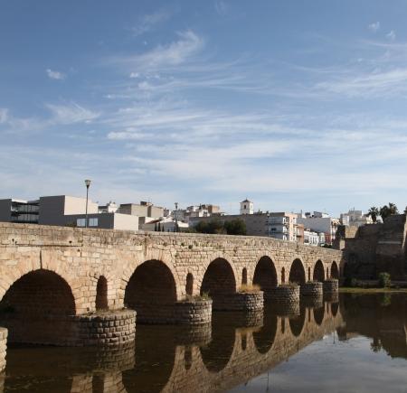 merida: Puente Romano is a Roman Arch Bridge in the town of Merida Spain.