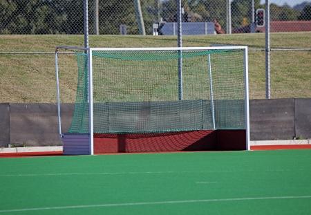 hockey sobre cesped: Objetivos de hockey hierba en un campo de hockey sint�tico.
