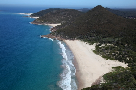 headland: Beautiful Box Beach from the top of Mount Tomaree - Nelson Bay  This area is a popular tourist destination just north of Newcastle Australia  Stock Photo