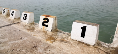 Number starting blocks at Merewether Ocean Baths - Newcastle Australia photo