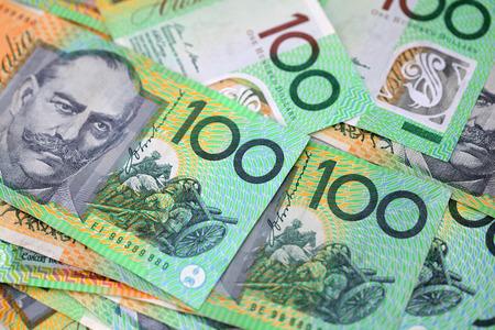 Australian 100 dollar notes closeup