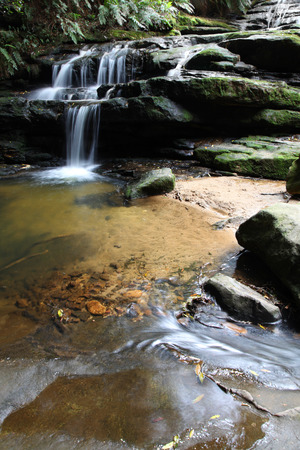 Leura Cascades is located in the Blue Mountains, a famous tourist destination west of Sydney  This set of cascades is readily accessible from Leura one of the most popular stops in the area   photo