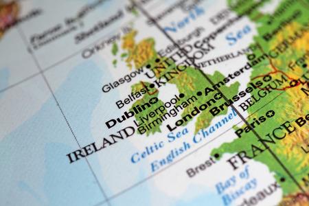 Dublin Ireland closeup on world globe. Note shallow depth of field photo