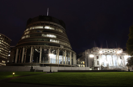 beehive: This building is the New Zealand Parliament Building located in Wellington on the North Island. It is referred to as the beehive.