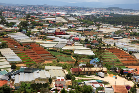 however: Dalat is a popular tourist and farming area in Vietnam. The area is famous for flower growing and other agriculture however the ever growing urban area now encroaches upon the farmland. Stock Photo