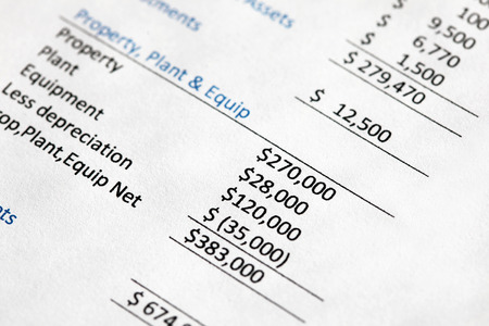Closeup of a company balance sheet listing property plant and equipment values. Note shallow depth of field