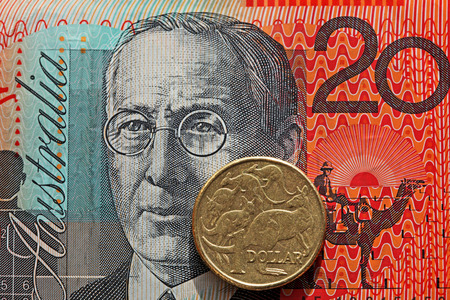 money notes: Australian twenty dollar note and one dollar coin Stock Photo