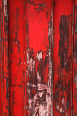wood panelling: Weathered red painted wood panelling Stock Photo