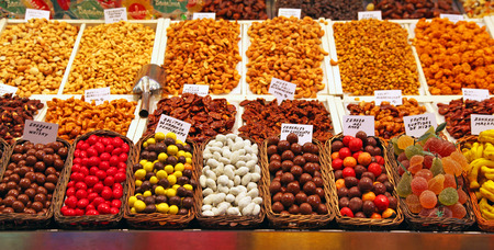 rambla: Various chocolates, sweets and snacks for sale at La Rambla - Barcelona. This market is a popular tourist destination in the Spanish city.