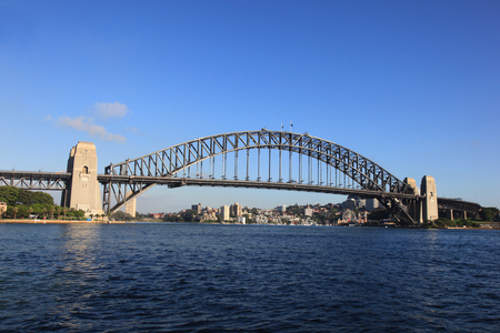 habour: Sydney Habour Bridge on a beautiful clear day. One of Sydney and Australias most famous landmarks