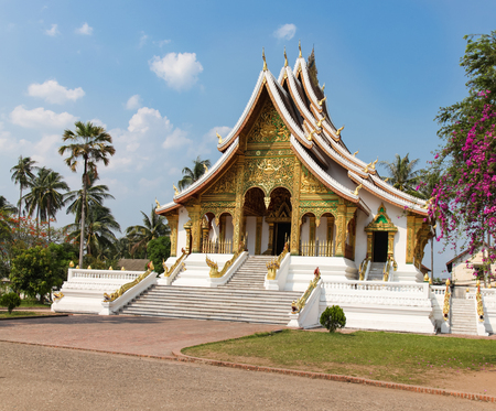 unesco: Gold coloured Buddhist Temple in the UNESCO listed Laos city of Luang Prabang.