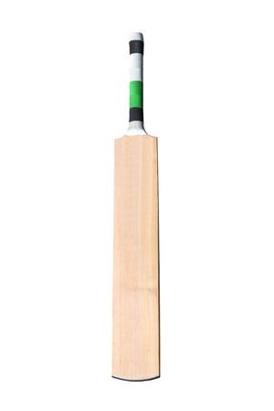 白で隔離木製クリケットのバット 写真素材