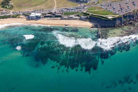 Aerial view of bar beach Newcastle Australia. Newcastle is New South Wales second larest city and has many amazing beaches. Stock Photo