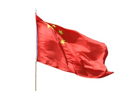 A red Chinese flag isolated on white