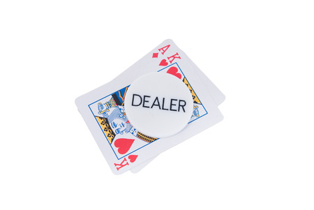 poker ace, king and dealer isolated white photo
