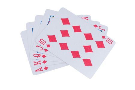 royal flush: Poker royal flush isolated white background cards