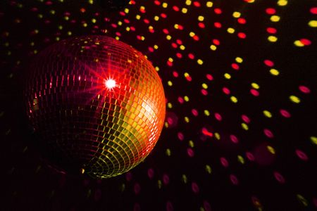 Disco ball red - yellow photo