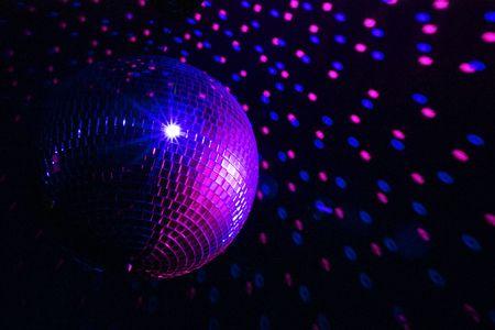 mirrorball: Disco ball blue - purple Stock Photo