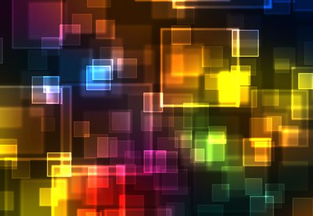 bokeh: abstract rainbow squares background