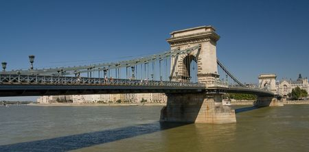general view of chain bridge in Budapest photo