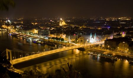 night panorama of budapest with elisabeth�s bridge photo