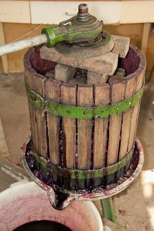 winemaking: wine press part of the process of wine production
