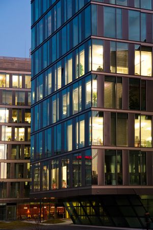 office building in the evening photo