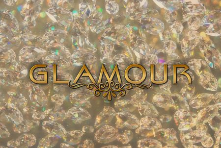 word glamour on the background from shining diamonds photo