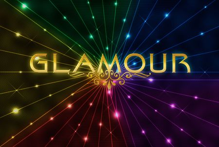 word glamour on abstract colour rays background photo