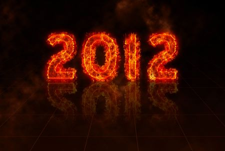 end month: burning numbers of year 2012 in flames