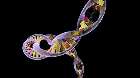 acido: Una cadena de ADN generados sobre un fondo negro.