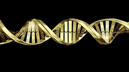 synthesis: A computer generated strand of DNA on a black background.