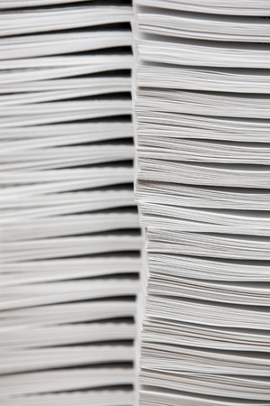 collate: Stacks of paper Stock Photo