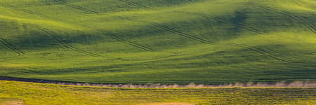 palouse: A truck drives through the rolling fields of the Palouse in Washington.