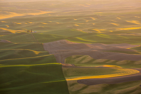 palouse: The rolling hills and fields of the Palouse region in Washington state.