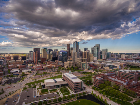 An aerial view of downtown Denver, Colorado in the springtime.
