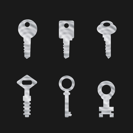 Door key set . Silhouettes of keys for the doors in minimalist style Illustration