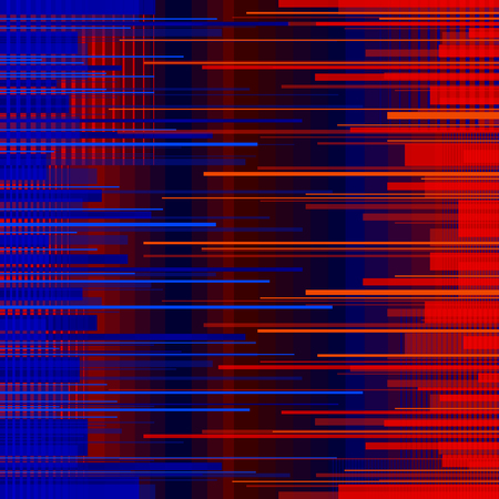 Glitched horizontal stripes. Colorful night lights. Digital signal error.