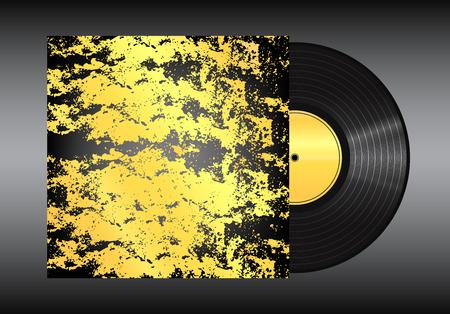Vinyl record on black background . Illustration