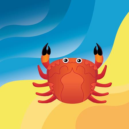 Crab on the sand Illustration